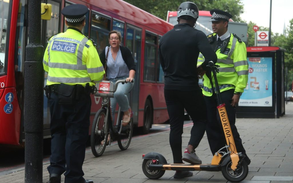 scooter rider pulled over by police