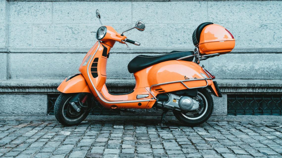 vespa scooter in orange